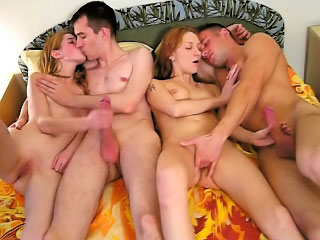Two attractive sexy babe getting gaped by two mighty dudes