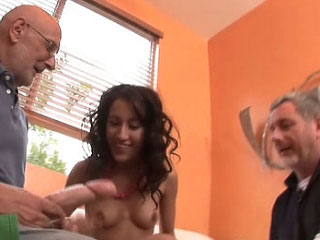 Attractive hot immature getting drilled and cummed by dirty fart