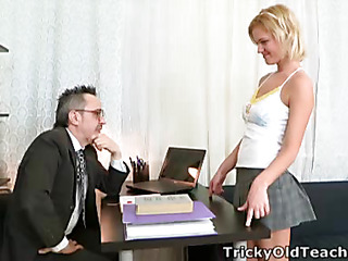 When Shelly spends a little additional time with her teacher this babe pretty soon realises what a waggish superannuated bastard that guy really is!  It's not lengthy in advance of that guy's got his shoal out and this babe's stripping off for a admirable fuck