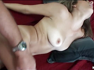 Gal gives nice blowjob before getting wet holes licked well