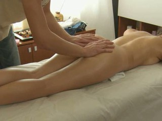 Charming masseur is plowing handsome hottie's cunt wildly