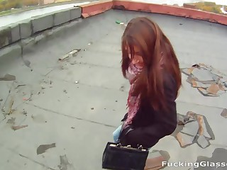 This desirous teeny confessed that babe's been dreaming about coarse extreme lovemaking and Andy was more than ready to give her just that fucking her brains outside right on the roof. It's cold and windy outside there, but the beautiful view and Andy's large steadfast shlong more than compensate for those concealed inconveniences. This nasty kitten takes a messy facial and screams