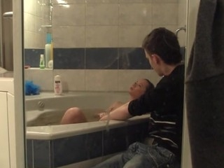 Large and comfortable bathtub becomes a place for a wild legal age teenager sex