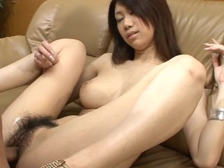Two studs are caressing and banging this beautiful Oriental gal