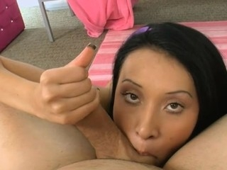 Arresting beauty is charming hunk with raunchy fellatio