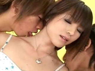 Sexy Japanese legal age teenager with some precious petite scones gets her taut Oriental snatch by two horny guys!