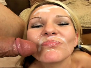 Sweet mart enjoys sperm shower on her face after sucking