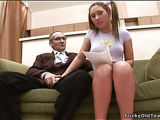 Saleable old teacher gives juvenile chick a effective drilling