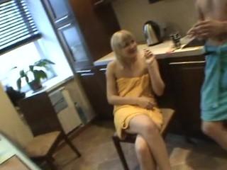 Horny honey sucks diminutive dong of her partner inside the little boys' room