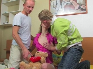 Legal Age Teenaged blond with a great pleasure endures double penetration