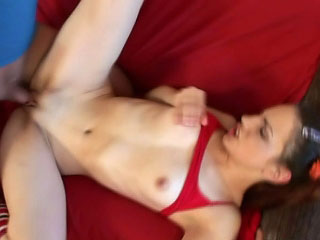 Pigtailed stripling sucking increased by possessions gaped in the brush covetous pussy