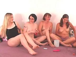 Beautiful cute girls strive a hot amateur funny platoon