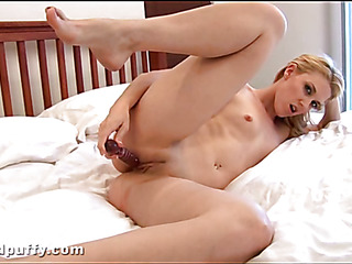 Plowing chick's twat with fake penis always makes her very wet