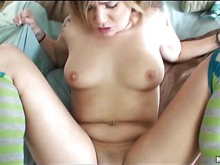 A college girl eventually dares riding a massive cock