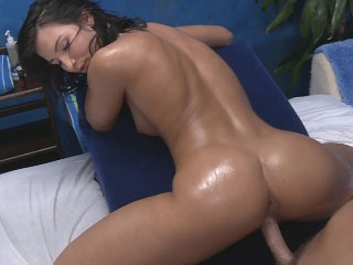Super hot brunette babe sucks cock then gets fucked hard