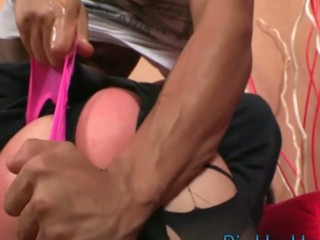 Slut gets jizz on her slutty face after wonderful anal sex