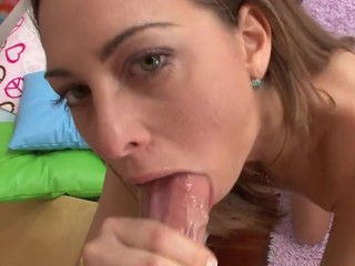 Sexy dark brown enjoys spitting and engulfing on stud's large penis!