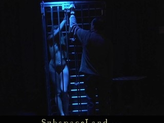Restrained and fastened in the metal cage cute youthful golden-haired Willa is Master's uncomplaining thrall. Whenever this chab feels homologous to playing kinky that guy takes her out and enjoys the view be required of having her spanked and fucked