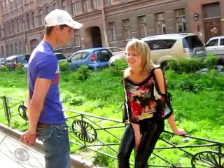 Staggering blonde teenie suckes and gets fucked by dirty man