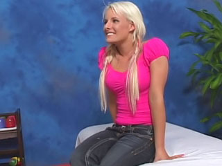 Gorgeous blonde teen sucking and getting fucked by several guy