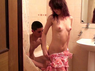 Elfish minor sucking big cock and realize fuck in along to bathroom