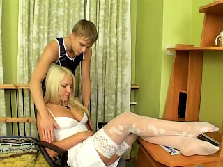 Sweet clumsy light-complexioned with perky tits showing shaved pussy