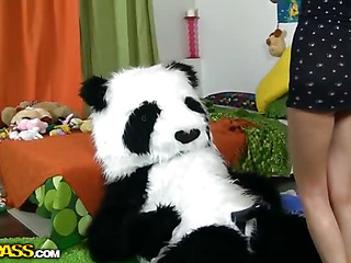 This luring teenage hottie was unassisted playing with her toys and having fun, but suddenly this babe realized that her large panda bear wasn't really a toy. But don't u be scared, breasty teenage gal, this chab's not gonna harm u. All this guy wants is a little sex play. So why not try to have X-rated sex with him, and furthermore, panda's black megadildo looks really arousing. And guess what, panda bear knows so many sex poses, his shagging skills are truly impressive! This kinky sex clip is a must-watch if u're into fun porn!