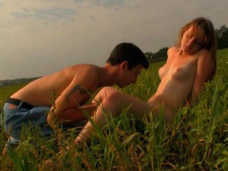 Legal Age Teenager pair has decided to spend sunset fucking on the grass
