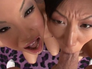 Asa Akira and Tia Ling one as well as the other swallow performer's wide-ranging ramrod.