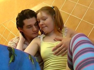 Comely blonde teen sucking and possessions fucked wide of one guy