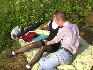 X-rated blonde getting anal fucked in say no to tight ass outdoors