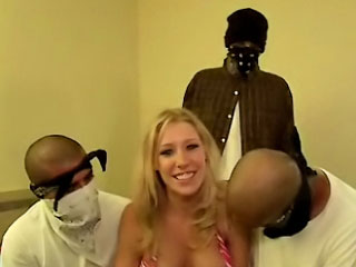 Busty chick nearly delicacy special sucking increased by screwing four guys