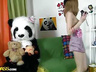 Oh, what a valuable panda bear! This Chab's got a present for this beautiful teenage angel - a type fresh photo camera! Why not have a photo session? With each photo the crumpet gets hornier and hornier, and pretty anon this babe poses bare shamelessly. But hey, panda wants some award for his gift, smth like kinky sex. Added to the panda's well equipped for that! An enormous sex toy is always ready for some action! So the camera's forgotten, and the breasty teenage happily rides the ding-dong penis of her concupiscent fluffy ally.